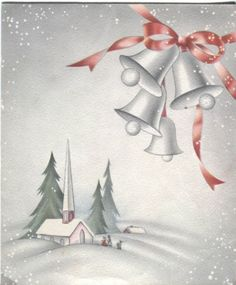 Vintage Christmas Card- Art Deco Church in Snow with Bells