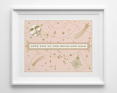 Love You To The Moon And Back Print, Stars and Moon Nursery Decor, Peach Nursery Decor, Pastel Coral and Gold Constellation Decor Girls Room...