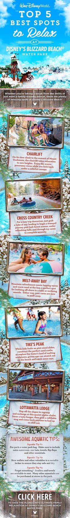 Plan some time to relax at Disney's Blizzard Beach Waterpark. #blizzardbeach #disneytips Let us help you plan a trip to Disney by requesting a quote at http://destinationsinflorida.com/pinterest