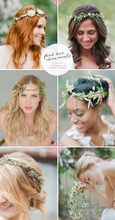 Floral crown styles / 36 ideas on how to wear flowers in your hair for your wedding on Best Day Ever