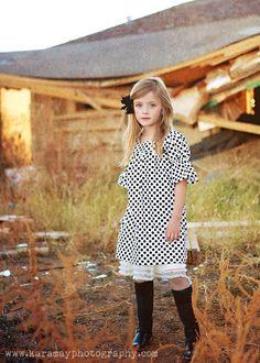 Baby Girls Modern Shift Dress  Blk/Wht Polka by KaitEmersonDesigns, $55.00