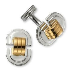"""Silver & gold art deco cuff links 