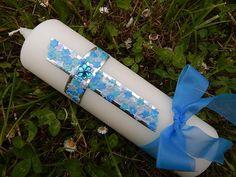 51 Taufkerze Kommunionkerze Junge Mädchen Blau NEU von Lenz  Kerzen auf DaWanda.com