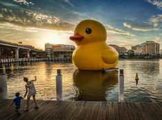 """Rubber Duck,"" a floating sculpture by Dutch artist Florentijn Hofman, has traveled the world's waterways."