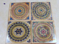 Moroccan Coasters Travertine Stone Decorative Tile Set Of 4 Marble