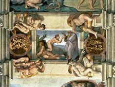 (Buonarroti), Michelangelo : Sistine Chapel Ceiling: Creation of Eve, with four Ignudi
