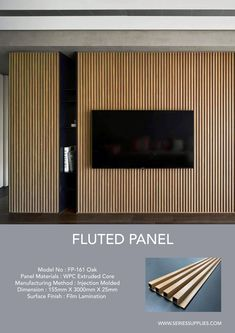 Create clean, crisp, continuous channels and shadow lines with Fluted Panel. This innovative and sophisticated product come in 3 different wood melamine finish (Oak, Walnut and Wenge ).Material made of WPC ( wood plastic composite ). Wall Cladding Interior, Timber Cladding, Interior Walls, Wall Cladding Designs, Interior Design, Feature Wall Design, Tv Wall Design, House Design, Tv Feature Wall