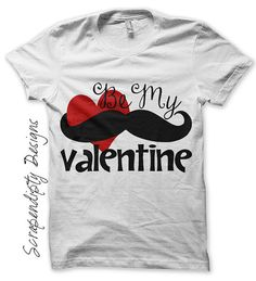 Mustache Iron on Shirt PDF - Be My Valentine Iron on Transfer / Cute Baby Clothes / Valentines Day Shirt / Kids Girls Clothing Top / IT169