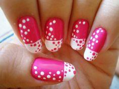 Nail Art Kaki, Dot Nail Art, Pink Nail Art, Polka Dot Nails, Blue Nail, Polka Dots, Pink Nails, White Nails, Girls Nails