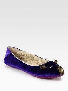 Marc by Marc Jacobs - Velvet & Metallic Leather Mouse Slippers