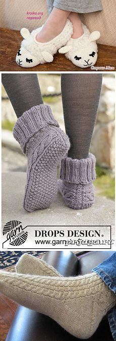 "Celtic Dancer - Knitted DROPS Slippers in ""Nepal"" with .- Celtic Dancer – Gestrickte DROPS Hausschuhe in ""Nepal"" mit Zopfmuster. Grö… Celtic Dancer – Knitted DROPS slippers in ""Nepal"" with cable pattern. Size 35 – – Free pattern by DROPS Design - Knitting Patterns Free, Free Knitting, Baby Knitting, Free Crochet, Knit Crochet, Knitting Machine, Crochet Style, Finger Knitting, Crochet Slippers"