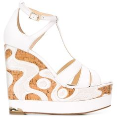 Paloma Barceló Embroidered Cork Olivia Sandals (13,645 DOP) ❤ liked on Polyvore featuring shoes, sandals, wedges, white, cork wedge sandals, white wedge heel shoes, white wedge heel sandals, wedge shoes and cork sandals