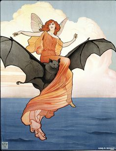 She flies on the wings of her bat... Art for poster advertising Viola Tree's Company performing 'The Tempest' by William Shakespeare at the Aldwych Theatre, London, by Charles A Buchel (1872-1950).