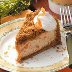 Carrot Cheesecake Recipe - this is so good, but if you don't like the texture of the carrots, use baby food carrots, or canned carrots and puree them in a food processor.