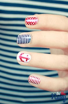 Nail art     in the navy. Link is in a different language but the picture is good enough for an idea