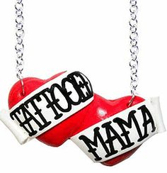 Tattooed Mama large double heart necklace