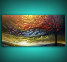 art tree painting tree painting cloud painting large by mattsart, $350.00