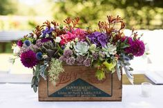 Berry toned centerpieces by Nellie Bell Blooms | Image by Erica Ann Photography