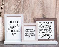 Free Bathroom Decor Printables – Set of 10 Funny Quotes Bathroom Wall Art, Bathroom Signs, Bathroom Ideas, Just Breathe Quotes, Funny Wall Art, Printable Designs, Free Printables, Wall Art Quotes, Wall Art Sets
