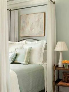 front guest bedroom wall color - Sherwin Williams blue hubbard (used to be Martha Stewart) Peaceful Bedroom, Cozy Bedroom, Dream Bedroom, Bedroom Decor, Sage Bedroom, Bedroom Colors, Bedroom Ideas, Bedroom Bed, White Bedroom