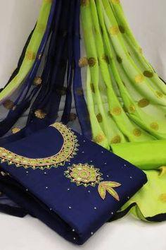 Navy Chanderi Embellished Unstitched Straight Suit Latest Salwar Suits, Latest Salwar Suit Designs, Salwar Suits Online, Salwar Kameez Online, Indian Salwar Suit, Patiala Suit, Pakistani Suits, Suits Online Shopping, Suit Shop