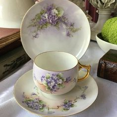 Haviland Limoges France Teacup Saucer and Plate Set Trio Hand