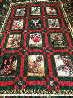 Christmas Flower Fairies Twin/ Double/ Throw or Wallhanging Quilt by FineLineFiberarts on Etsy https://www.etsy.com/listing/460305480/christmas-flower-fairies-twin-double