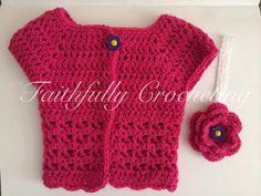 Newborn Sweater.. Short Sleeves... Sparkle by FaithfullyCrocheting