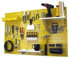 Steel Pegboard, Pegboard Organization, Garage Storage Systems, Diy Garage Storage, Organization Ideas, Storage Area, Storage Room, Tool Storage Cabinets, Power Tool Storage