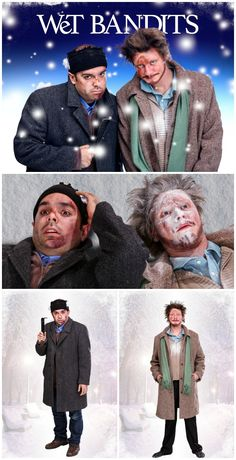 """Here's an awesome costume and makeup tutorial for how to look like """"The Wet Bandits"""" from Home Alone! Home Alone Characters, Christmas Movie Characters, Holiday Movie, Christmas Movies, Home Alone Christmas, Christmas Dress Up, Christmas Carol, Ugly Christmas Sweater, Diy Halloween Costumes"""