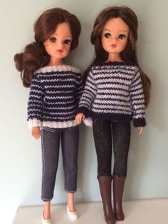 Hand knitted jumpers for Sindy