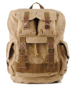 Canvas Travel Backpack with Many Pockets - Military Style #canvasbackpack