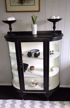 Vintage Workroom: Painted glass display cabinet in black and white chalk paint.