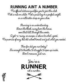 Be a Runner, not a Number. | Run Pretty Far