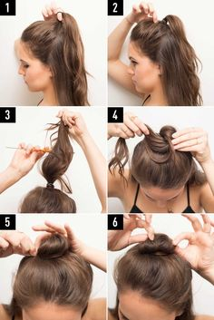 If you have long hair, use these tips and instructions to make the half bun hairstyle work for you! Start with a tight ponytail with half of your hair up and hair down. Then gently tug on the hair on top of your head to make it look more voluminous. Then tease hair at the base of the elastic (to give your bun a fuller look) and twist it around the base. Secure with bobby pins and adjust it to the shape you want. Find the full instructions and expert tips here!