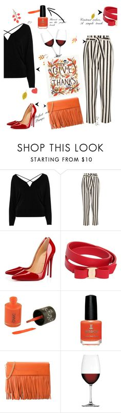 """Friendsgiving"" by vawilsonus ❤ liked on Polyvore featuring River Island, Christian Louboutin, Salvatore Ferragamo, Boutique Moschino and Nachtmann"