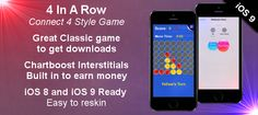 UNIQUE OPPORTUNITY to earn money. This game is a fully functioning classic 4 in a #rowgame can generate a lot of traffic and money.  Just switch the 2D graphics and icons and submit to the app store the same day!