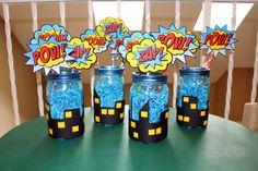 Superman Birthday, Avengers Birthday, Batman Party, Superhero Birthday Party, 4th Birthday Parties, 5th Birthday, Superhero Centerpiece, Superhero Baby Shower, Party Themes For Boys