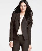 """Tropical Wool Tabitha Jacket - Perfectly suited for work and beyond, this smartly tailored jacket flatters with a clean, cropped silhouette that drapes beautifully in all-season tropical wool. Notched lapel. Long sleeves with functional sleeve buttons for added styling options. Three-button front. Front besom pockets. Lined. 22 3/4"""" long."""