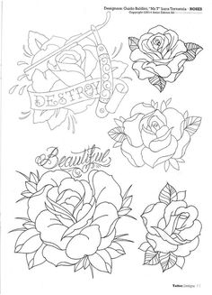 Flower tattoo 3 Rose Tattoos, Flower Tattoos, Body Art Tattoos, Sleeve Tattoos, Tatoos, Rose Sketch, Hand Sketch, Floral Tattoo Design, Flower Tattoo Designs