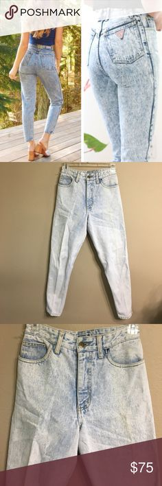"""Vintage • Guess light acid wash mom jeans Vintage Guess light stone acid wash mom jeans. High waisted with ankle zippers. Size tag says 27 but would best fit size 25. (Runs small.) Waist 12.5"""" across, inseam 28"""", hips 19"""", rise 12"""". Right leg has a little yellow spot and brown speckle by the knee. Not noticeable. Just washed in hot water and baking soda and they look great! Guess by Marciano Jeans"""