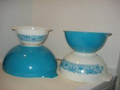 Vintage Pyrex HORIZON BLUE 4 Piece by PastPossessionsOnly on Etsy, $64.95