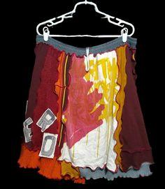 EPOLSTYLE  Denim River artsy ooak wearable shabby chic art Upcycled recycled  knit plaid cotton tunic boho eco friendly lg xlg OOAK