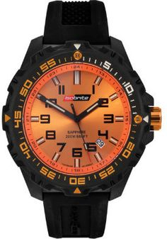 Armourlite Tactical Watch features a polycarbonate case and sapphire crystal. The hands and hour markers are accented with tritium tubes for continuous illumination. It is powered by a Swiss Ronda Quartz movement with a Lithium battery. Serie Orange, Cartier, Tritium Watches, Tactical Watch, Online Watch Store, Casio Watch, Black N Yellow, Link Bracelets, Watches For Men