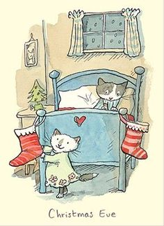 """Christmas Eve card Gifts and Greeting cards for cat lovers, mugs and cards. Anita Jeram illustrated """"Guess How Much I Love You"""" Christmas Illustration, Children's Book Illustration, Christmas Images, Christmas Cats, Anita Jeram, Image Chat, Cat Drawing, Cat Art, Cats And Kittens"""