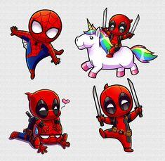 Spideypool Stickers - Adventure Tutorial and Ideas Deadpool Chibi, Deadpool Kawaii, Cute Deadpool, Deadpool Y Spiderman, Deadpool Fan Art, Baby Spiderman, Deadpool Painting, Deadpool Quotes, Lady Deadpool