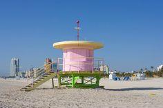 A round art deco life guard station in Miami Beach.
