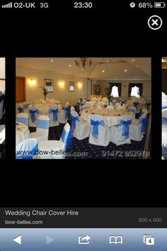 Tae setting/ blue chair covers and sashes
