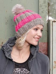 Free Ribbed Bobble Hat pattern - Ribs and stripes - the perfect pairing! Especially when they're combined with a fun bobble hat, as is this model made