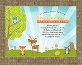 Printable Forest Themed Baby Shower Invitation - Woodland Animal Baby Shower Invitation. $15,00, via Etsy.